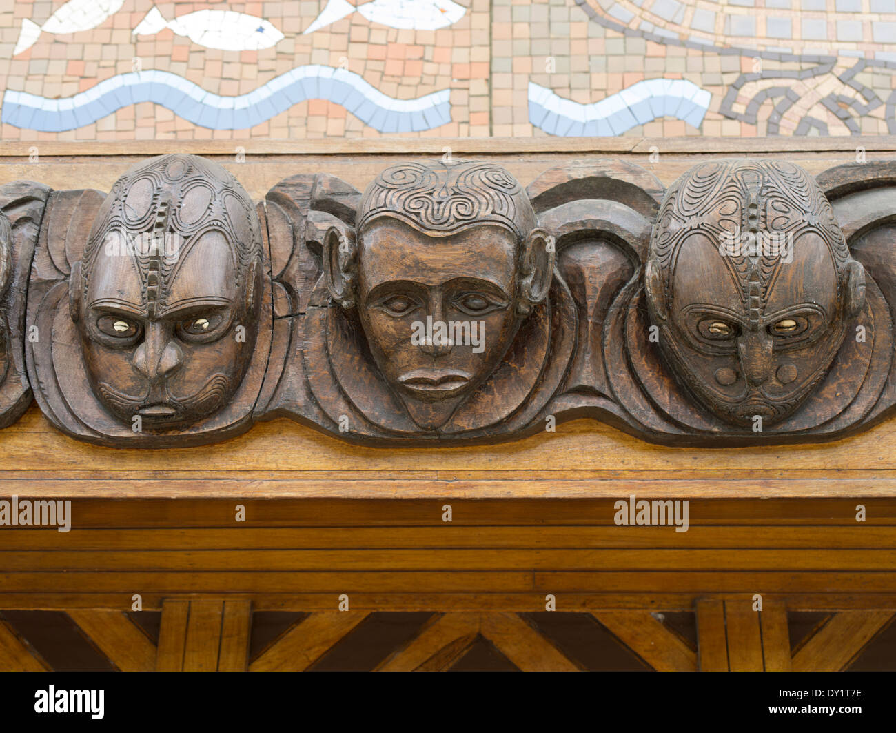 Wooden Carvings - Parliament Haus, Port Moresby City, Papua New Guinea - Stock Image