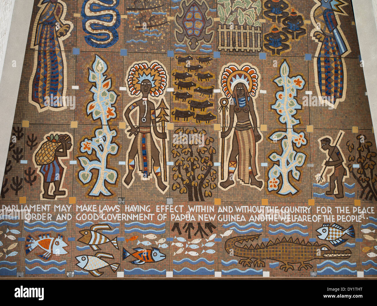 Mural at Parliament Haus, Port Moresby City, Papua New Guinea - Stock Image