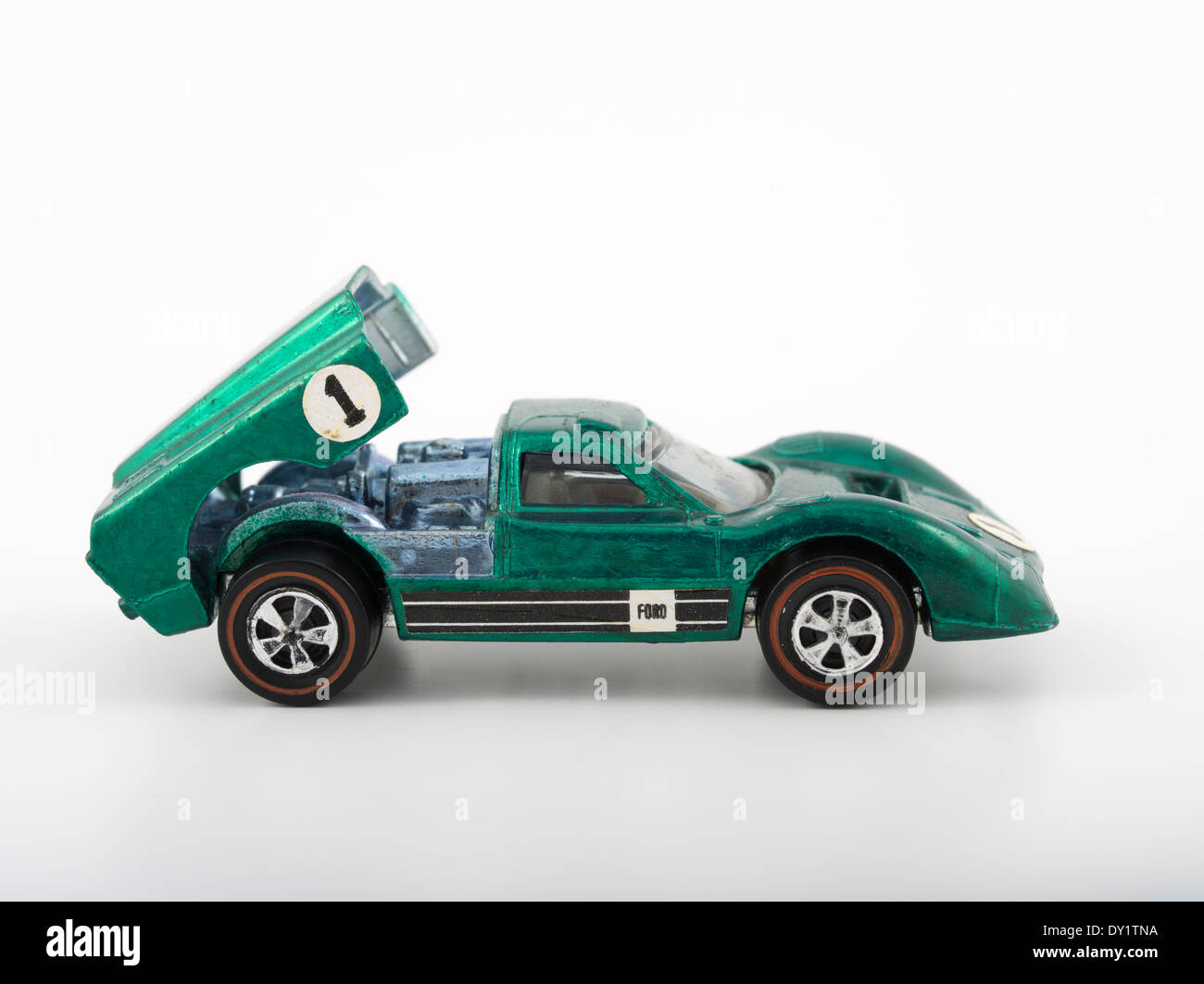 Green Ford J-Car , Hot Wheels die-cast toy cars by Mattel 1968 with Spectraflame paintwork - Stock Image