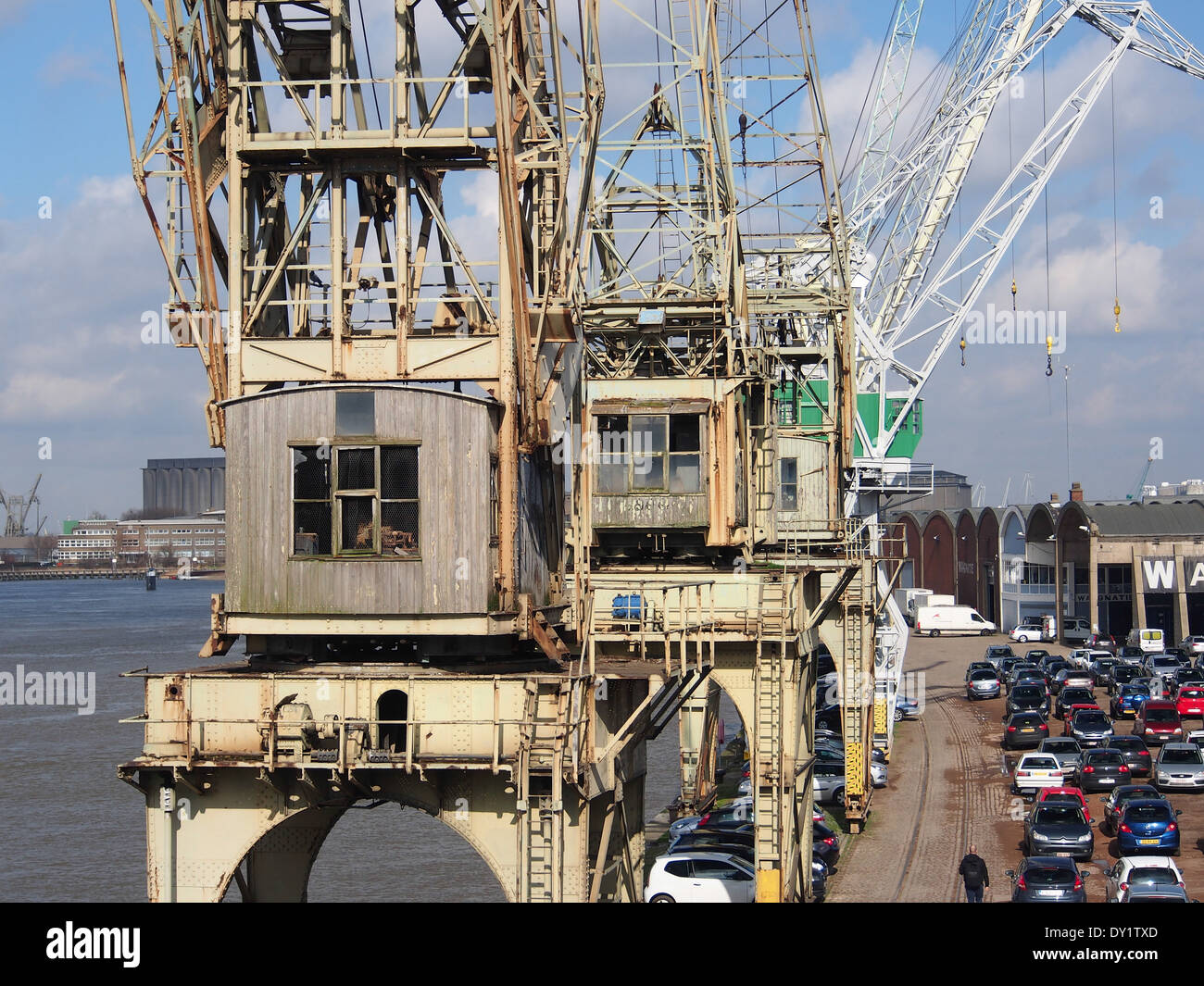 Old port cranes at Port of Antwerp, pic-015 - Stock Image