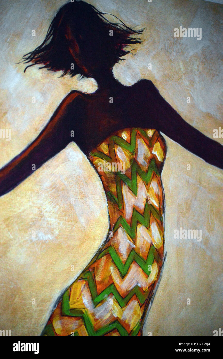 African Art Section Of Painting Of African Woman Dancing On Display