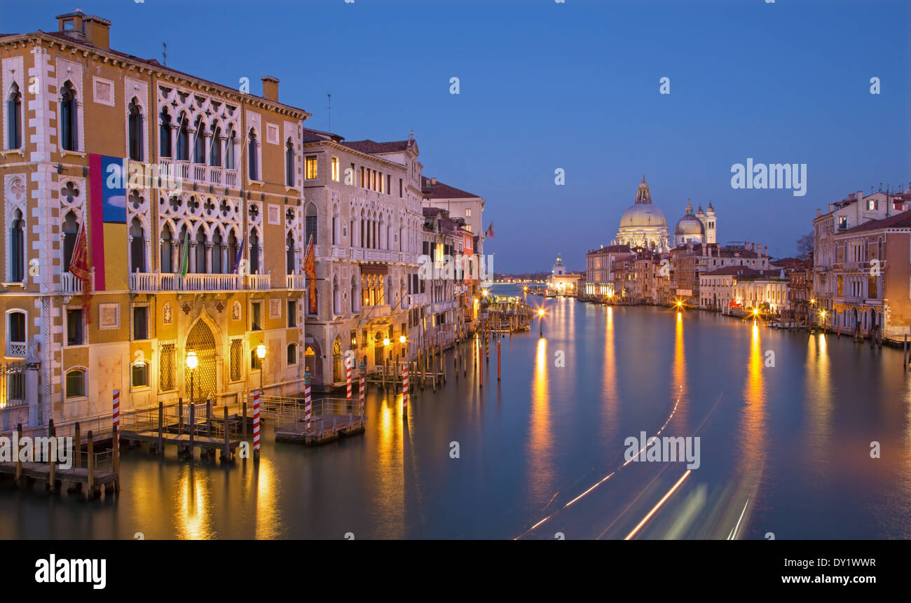 Venice - Canal grande in evening dusk from Ponte Accademia - Stock Image