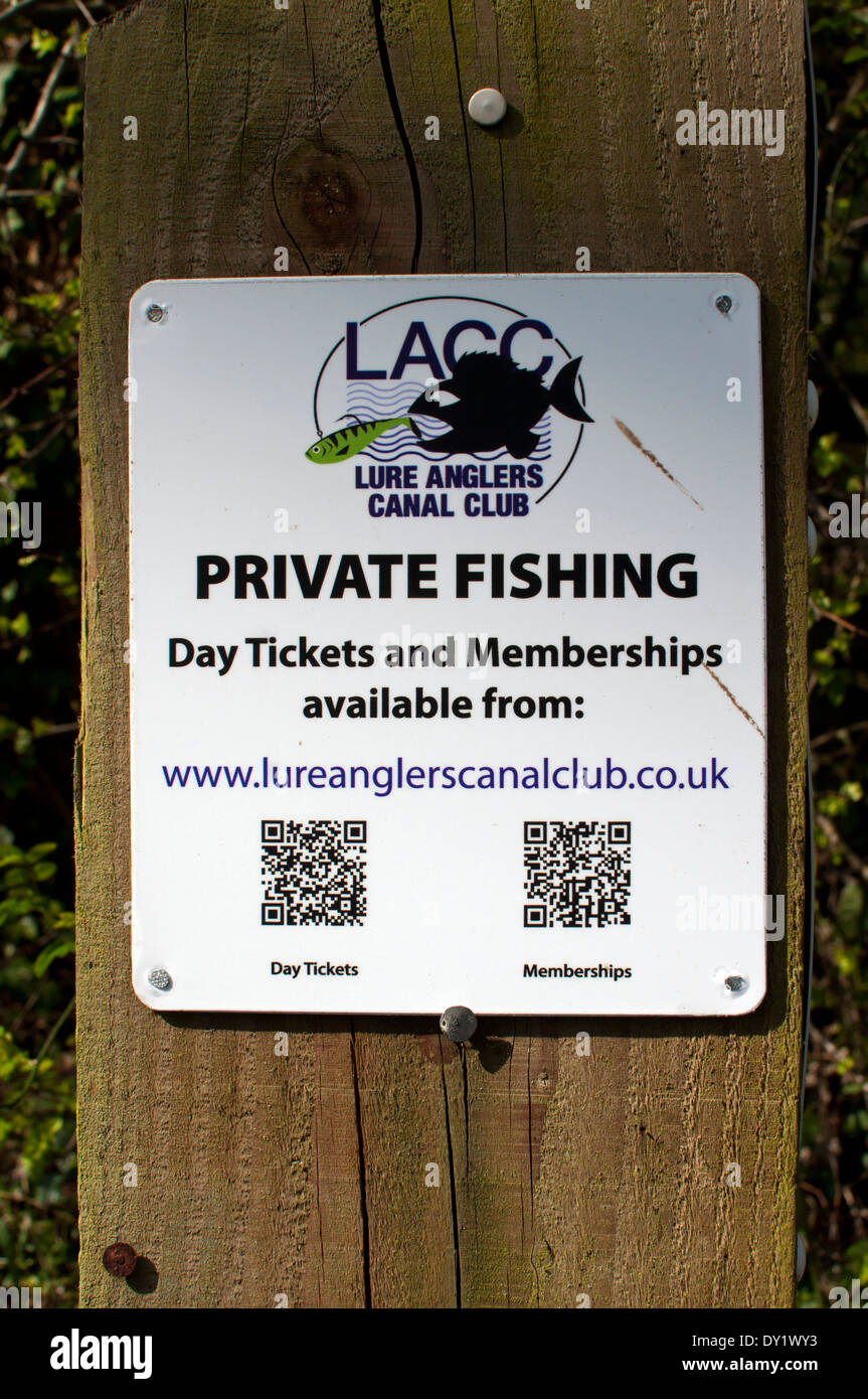 Angling club sign including QR codes, Warwickshire, UK - Stock Image