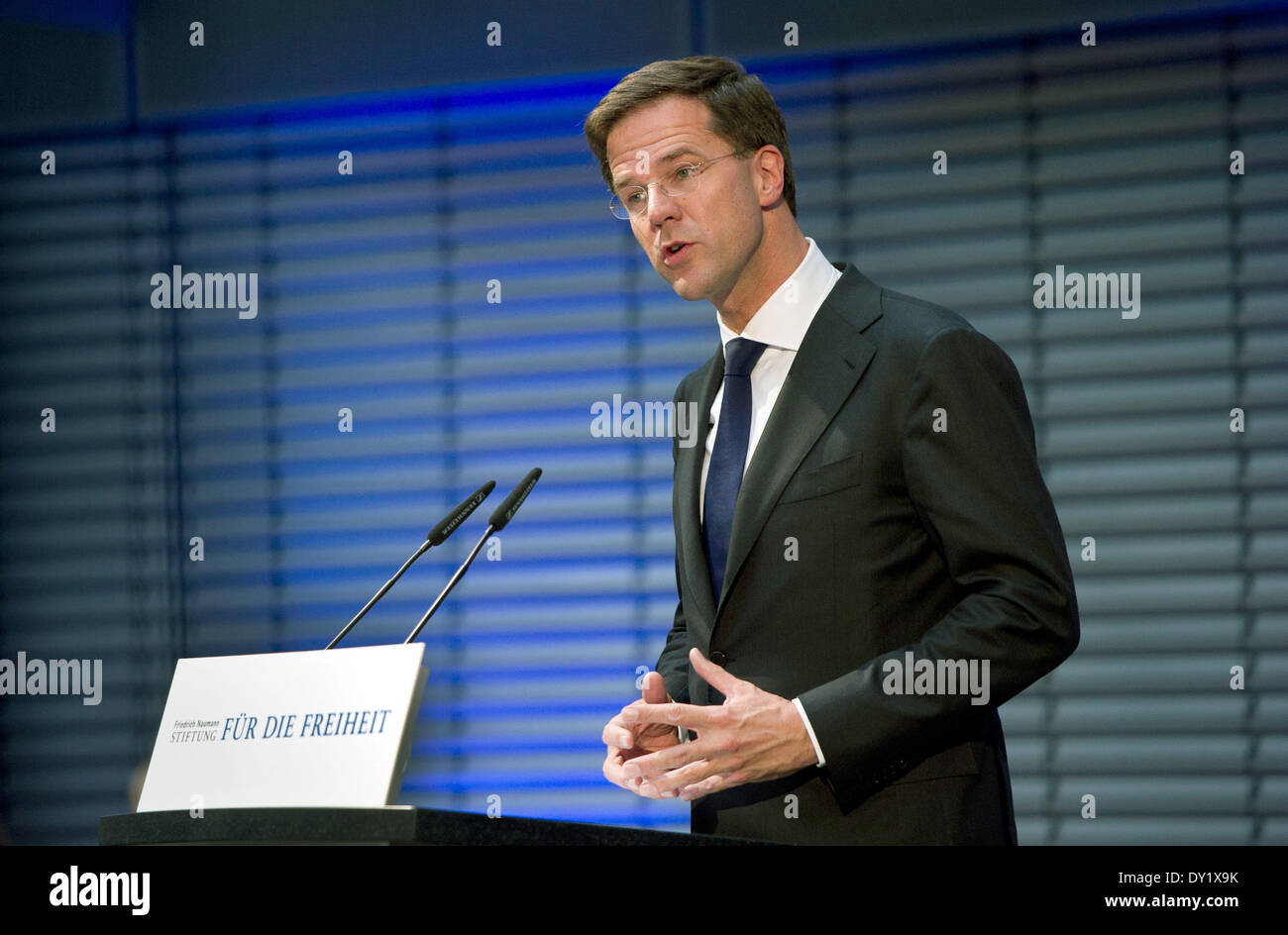 Mark Rutte, Minister-President of the Netherlands, gives the '8th Berlin speech on freedom' (German: 8. Berliner Rede zur Freiheit) in Berlin, Germany, 03 April 2014. Under the title 'Liberalism in Europe' Ruttespoke about necessary changes and reforms to keep being part of the best countries concerning economic and social factors. Photo:  Daniel Naupold/dpa - Stock Image