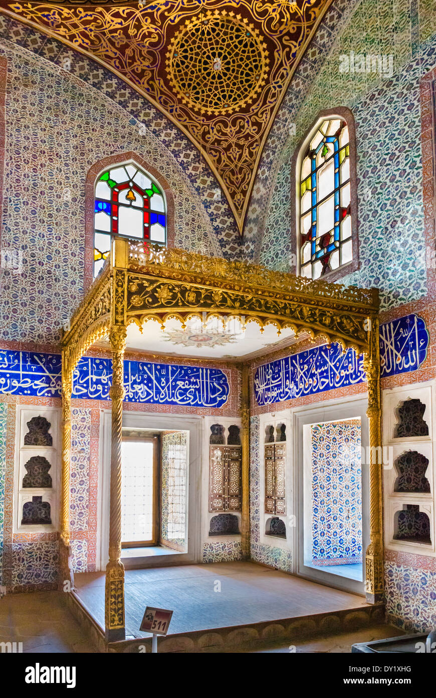 The Privy Chamber of Sultan Murad III in the Harem of the Topkapi Palace (Topkapi Sarayi), Sultanahmet district, Istanbul,Turkey - Stock Image