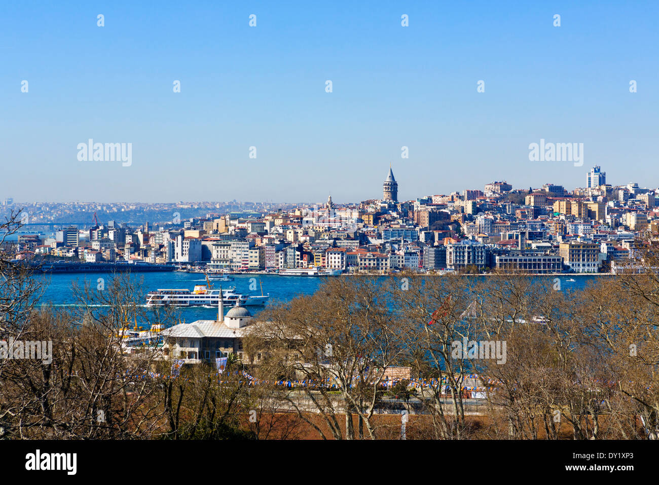 View from Mecidiye Kosku terrace in Fourth Court of Topkapi Palace looking over the Golden Horn to Galata, Istanbul,Turkey Stock Photo