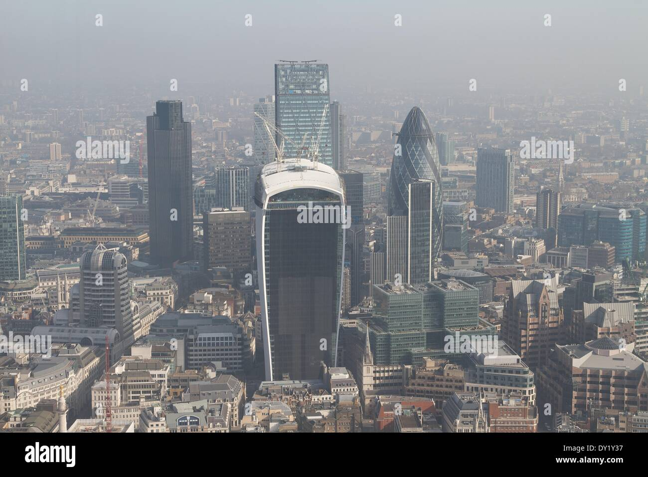 Record pollution levels recorded over the City of London, England Credit:  Paul McCabe/Alamy Live News - Stock Image