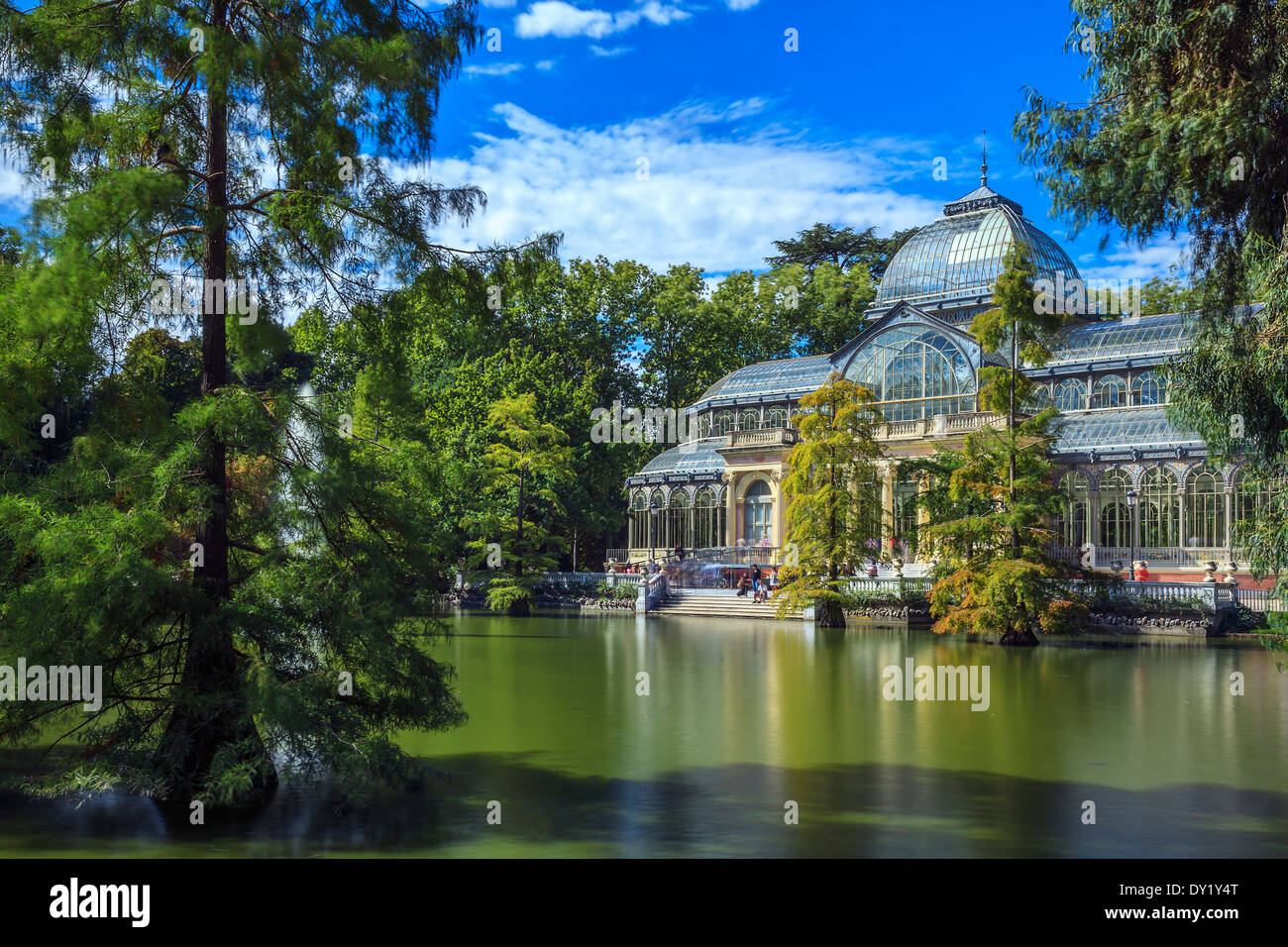 Famous Crystal Palace in Retiro Park,Madrid, Spain. Stock Photo