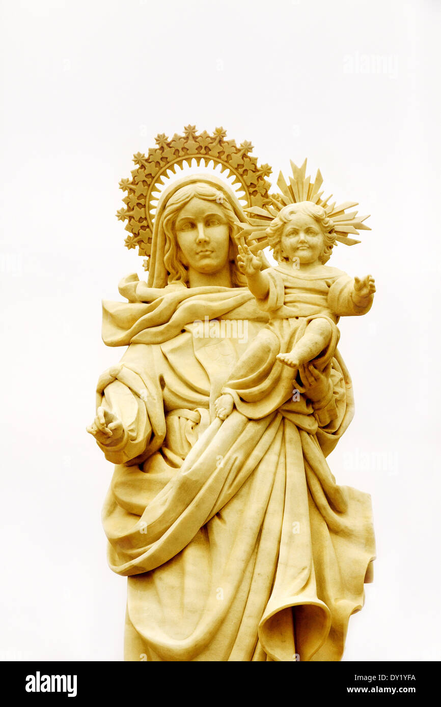 Madonna and Child statue; concept : religion christianity roman catholic, catholicism - Stock Image