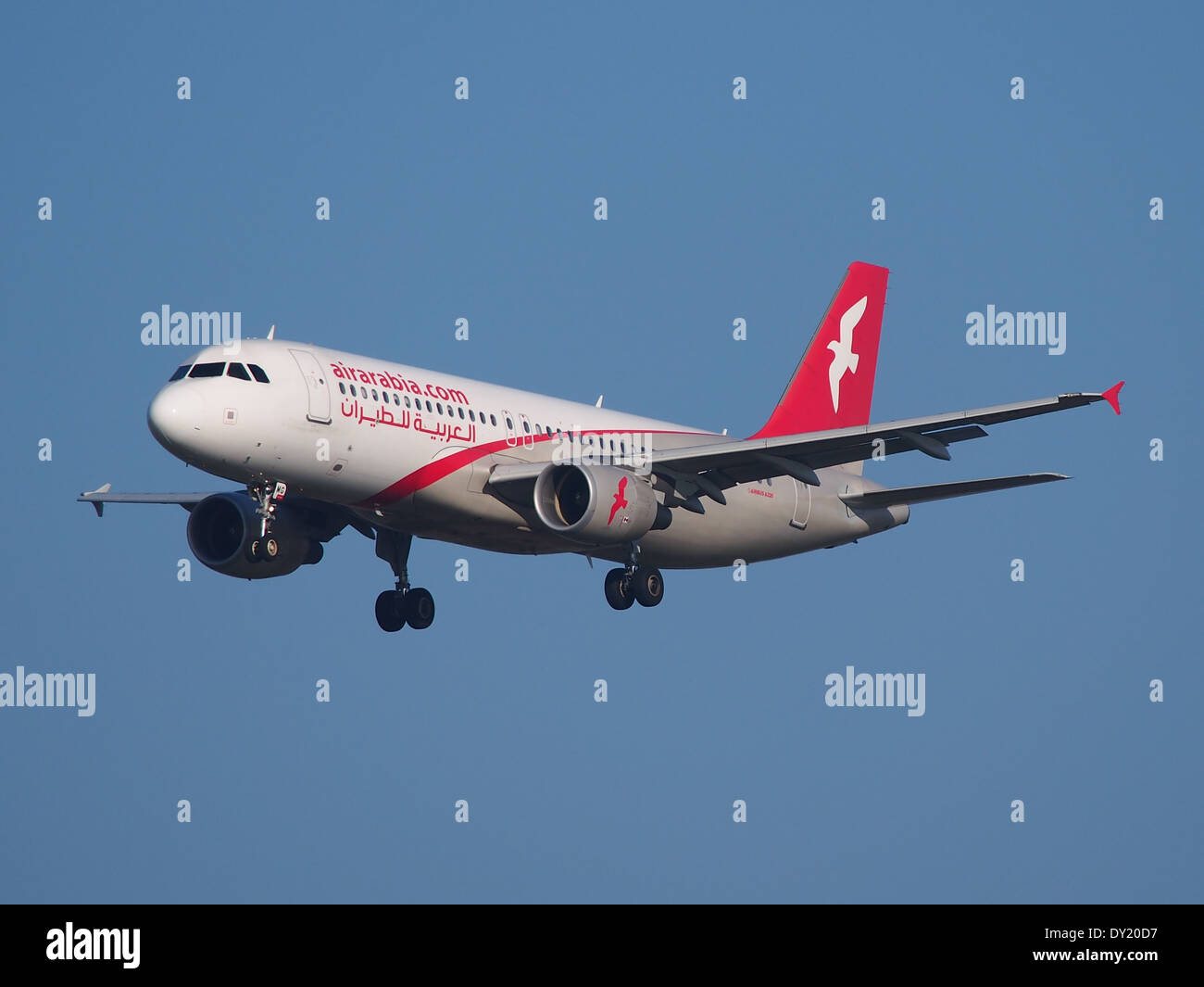 CN-NMG Air Arabia Maroc Airbus A320-214, landing at Schiphol (AMS - EHAM), Netherlands, pic1 - Stock Image