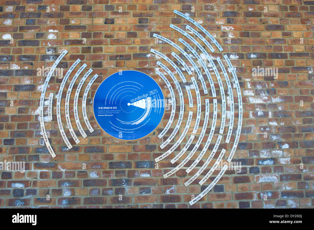 Audio time capsule sign, Regents Canal, Camden, London, England, UK. Stock Photo