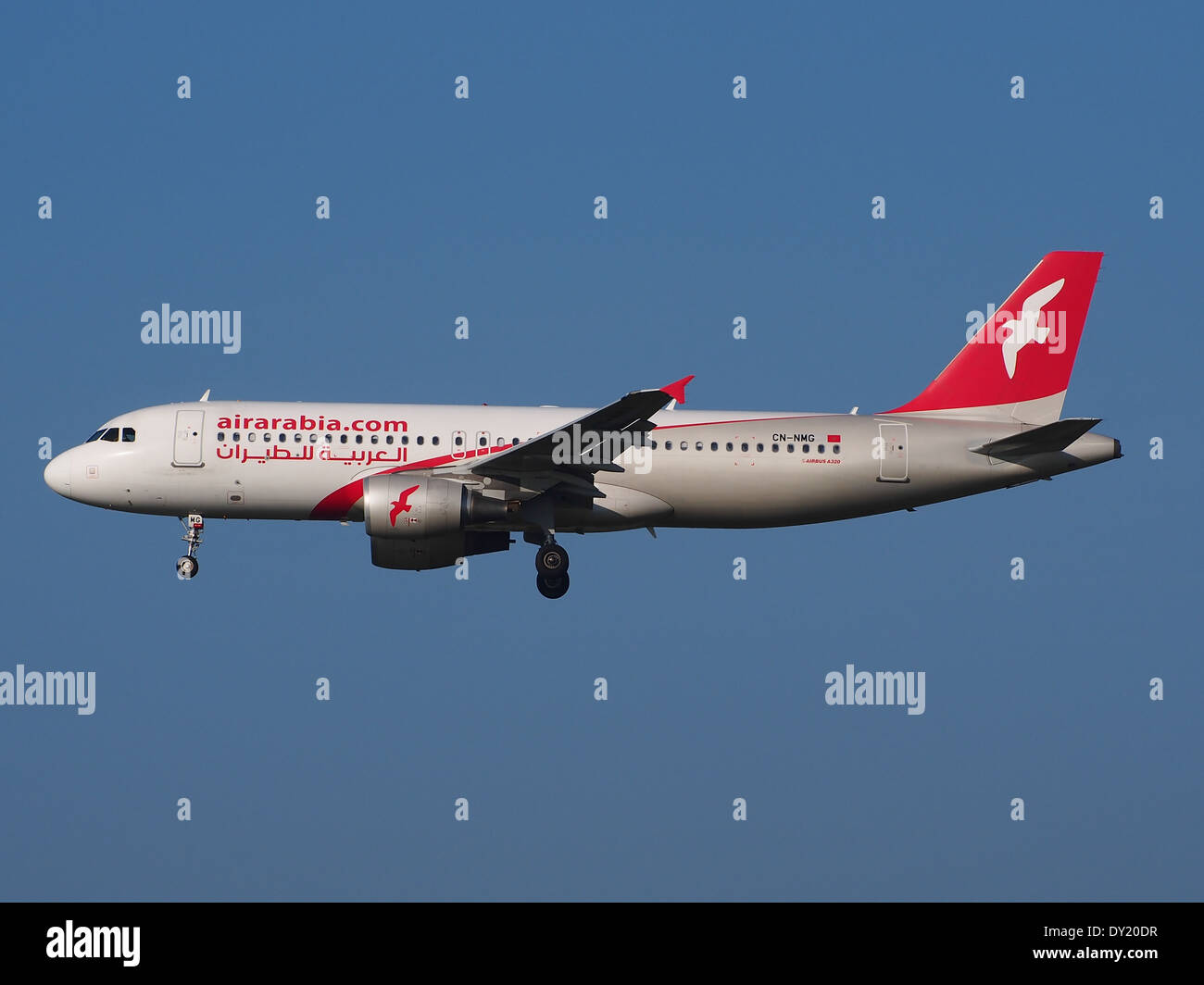 CN-NMG Air Arabia Maroc Airbus A320-214, landing at Schiphol (AMS - EHAM), Netherlands, pic3 - Stock Image