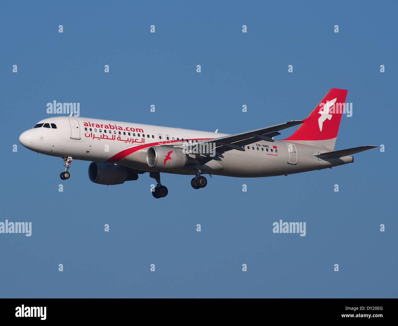 CN-NMG Air Arabia Maroc Airbus A320-214, landing at Schiphol (AMS - EHAM), Netherlands, pic2 - Stock Image