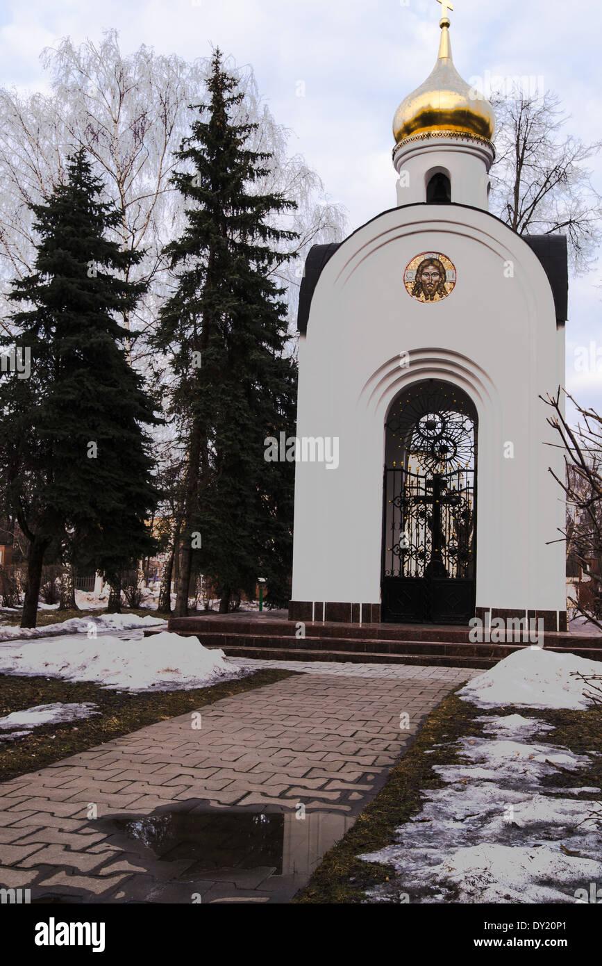 white stone chapel with mosaics - Stock Image