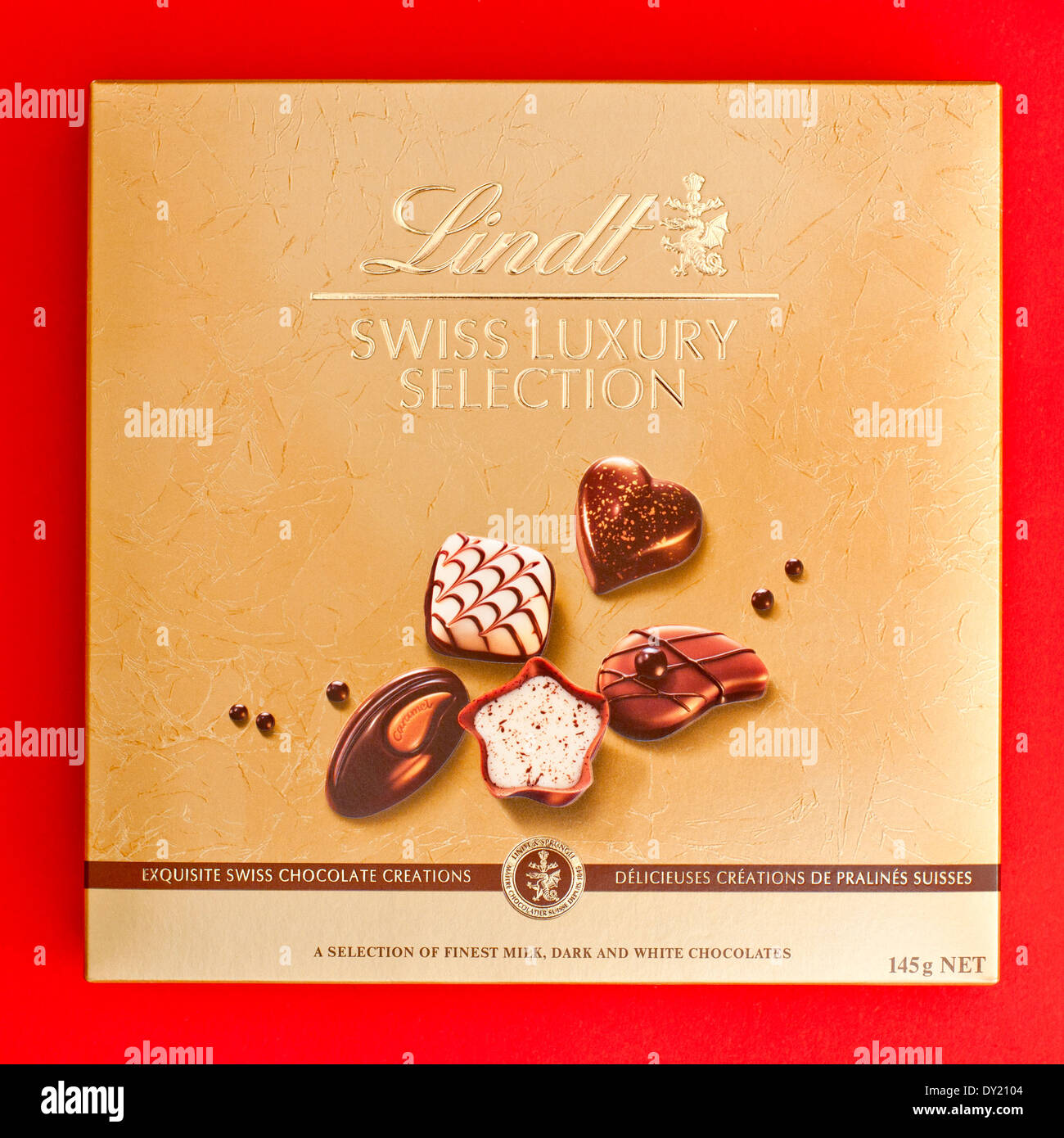 Royalty free stock photo of selection of Lindt's chocolate red box. - Stock Image