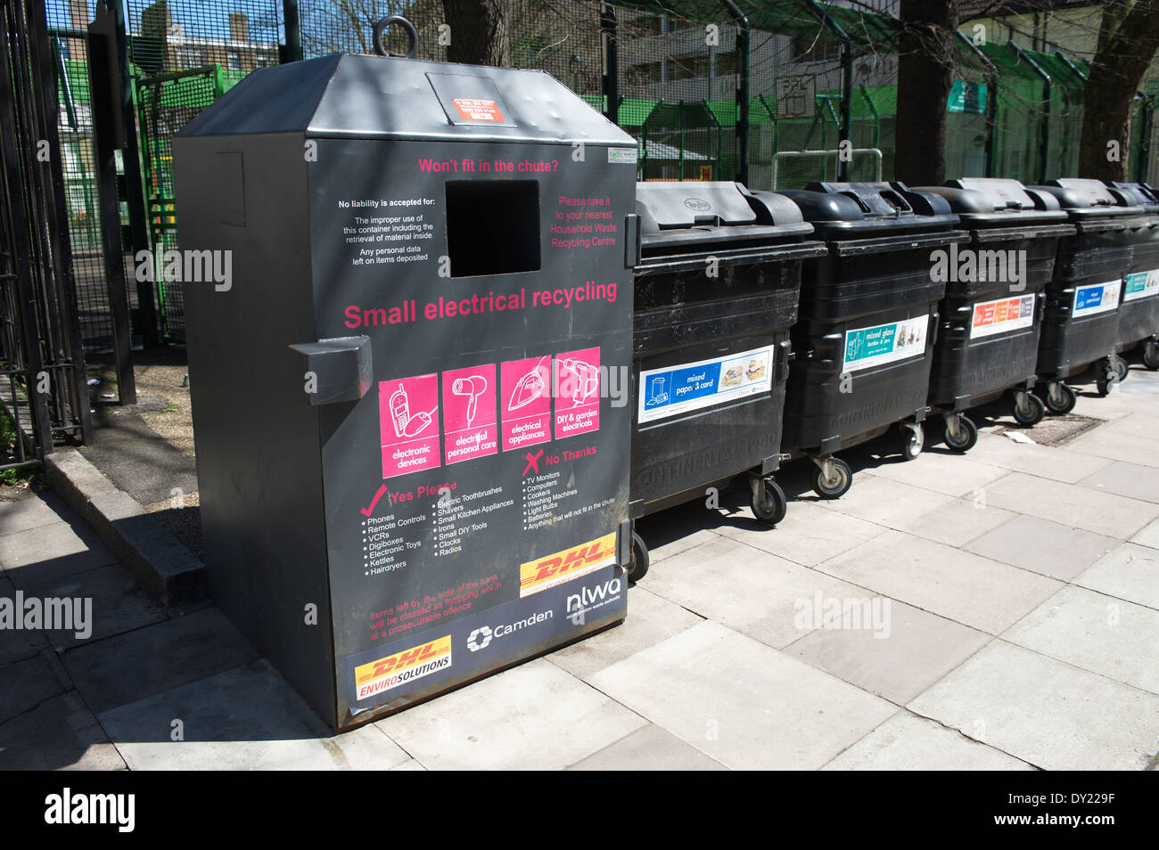 Recycling facility for small electrical appliances WEEE in Camden, London, England, UK. Stock Photo