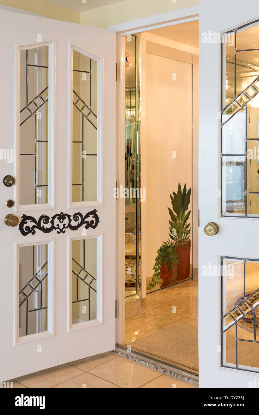 Etched Glass Double Entry Doors Luxury Condo FL USA & Etched Glass Double Entry Doors Luxury Condo FL USA Stock Photo ...