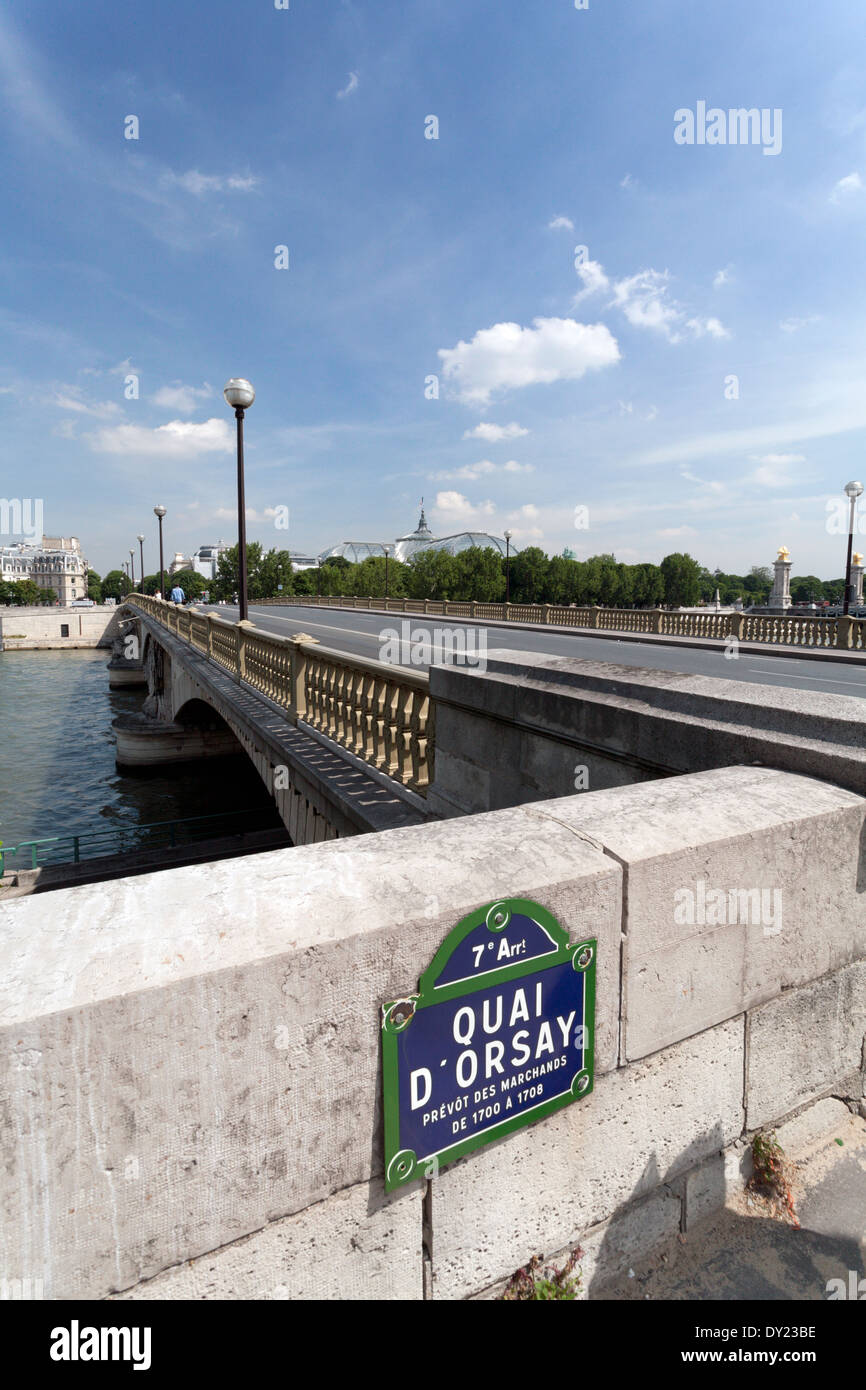 Street marker in Paris France along the Seine River the Quai D'Orsay and Pont des Invalides with the Grande Palais Stock Photo