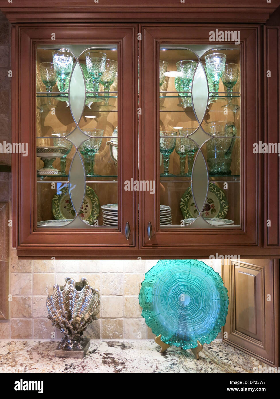Luxury Etched Glass Front Kitchen Cabinet, USA Stock Photo ...