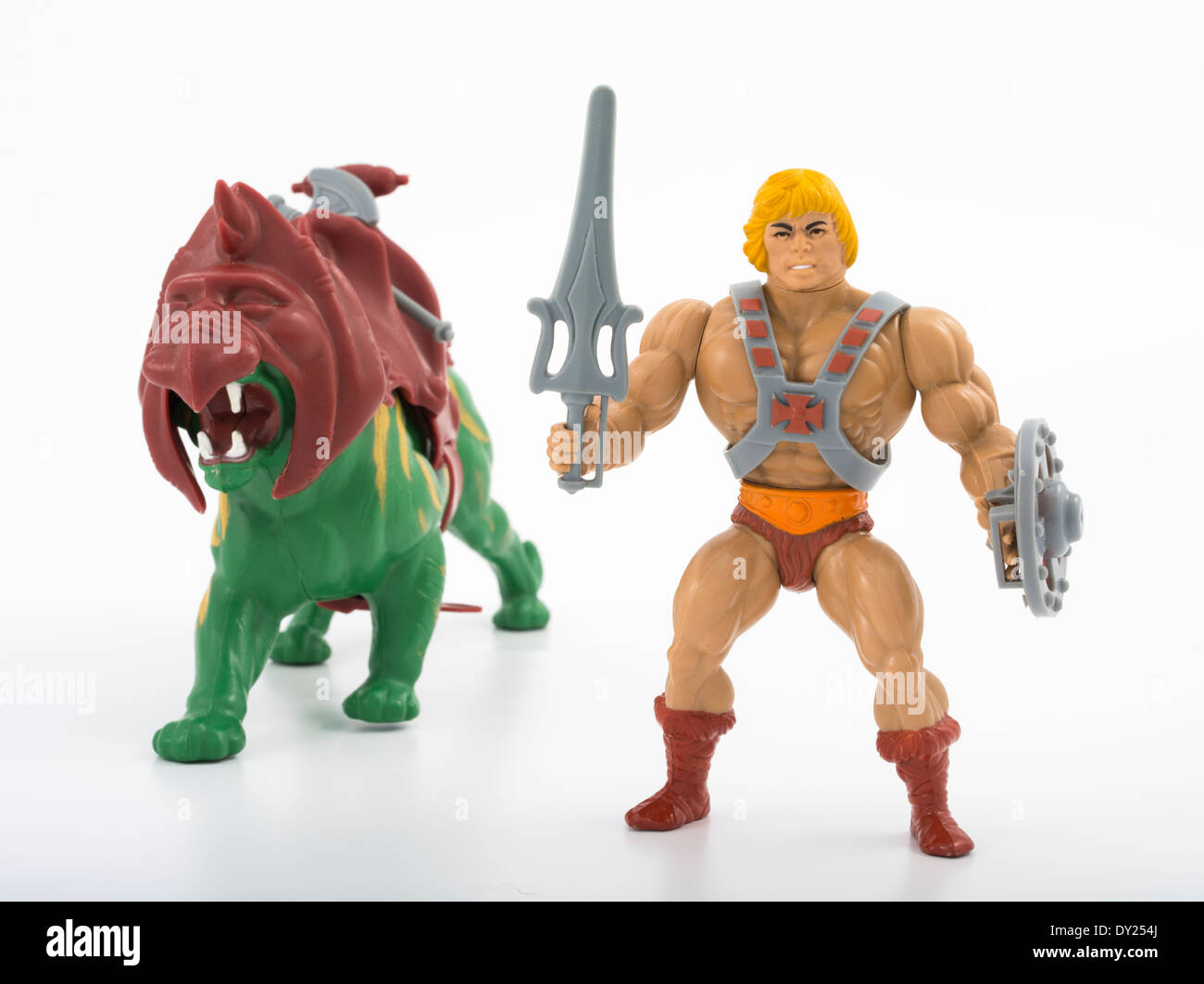 Battle Cat and He-Man Masters of the Universe Action Figures by Mattel 1982 - Stock Image