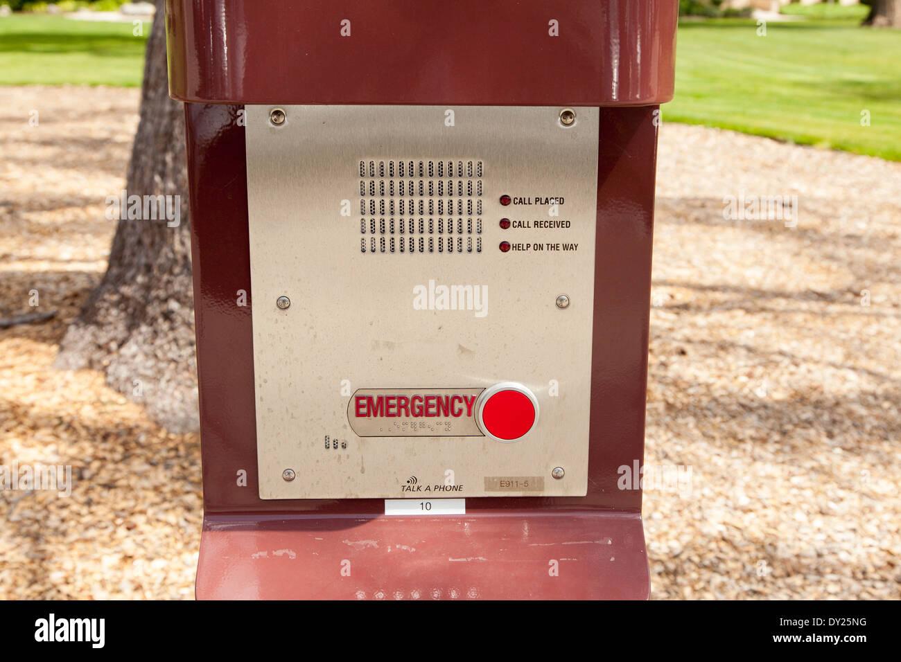 Blue Light alarm box close up located at Santa Clara University - Stock Image