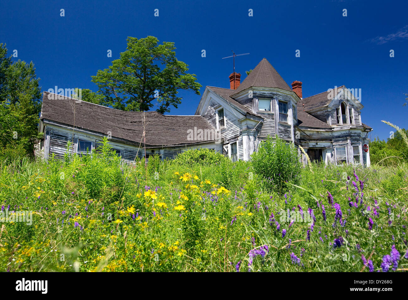 Abandoned, dilapidated old house from a bygone era, Maine, USA - Stock Image