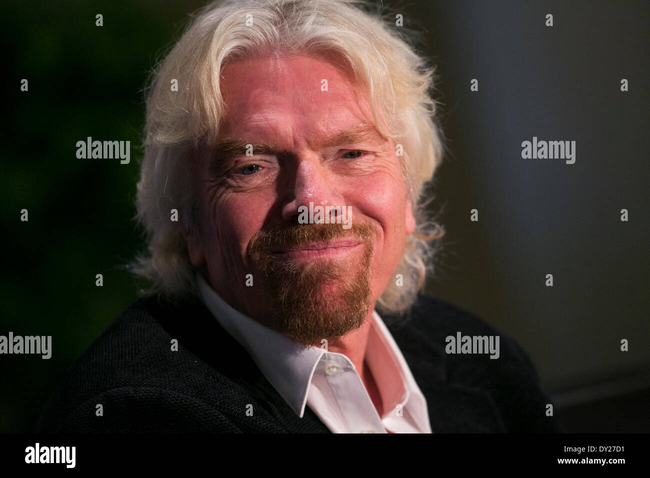 Washington DC, USA . 03rd Apr, 2014. Sir Richard Branson, Founder, Virgin Group, speaks at the U.S. Chamber Of Commerce Foundation 13th Annual Aviation Summit  in Washington, D.C., on April 3, 2014. Credit:  Kristoffer Tripplaar/Alamy Live News - Stock Image