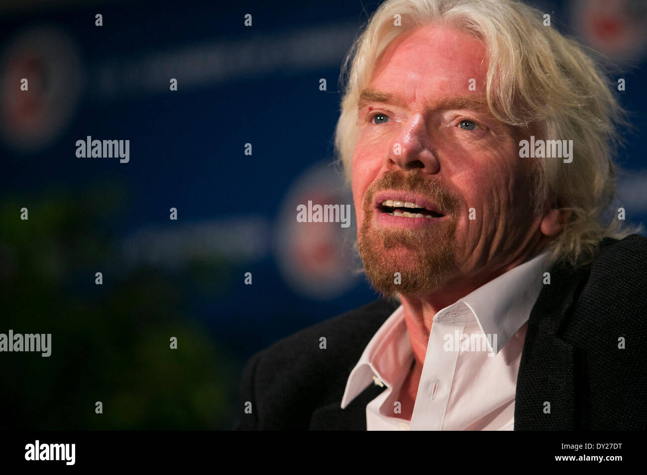 Washington DC, USA . 03rd Apr, 2014. Sir Richard Branson, Founder, Virgin Group, speaks at the U.S. Chamber Of Commerce Stock Photo