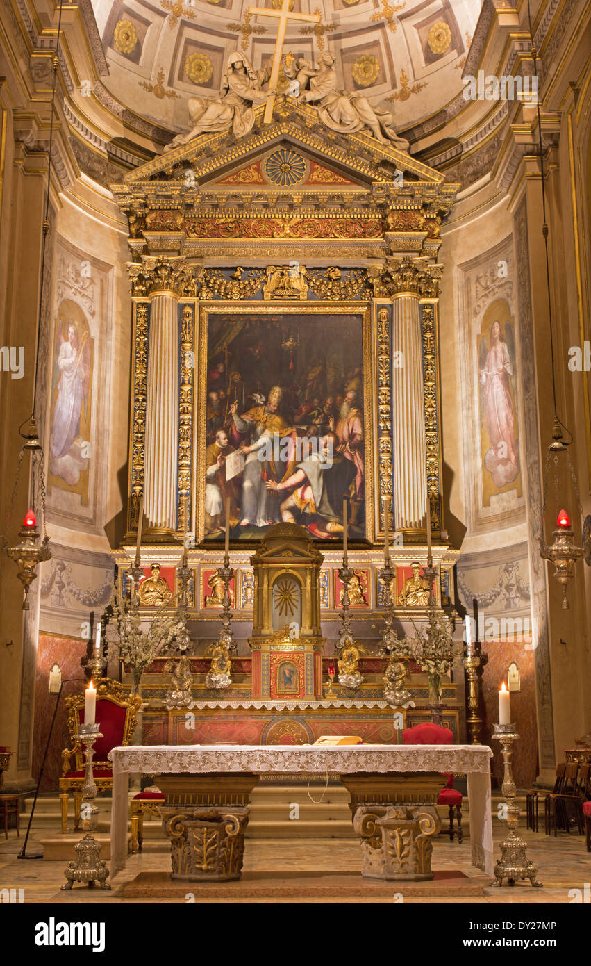 BOLOGNA, ITALY - MARCH 16, 2014: Main altar of Chiesa di San Gregorio e San Siro Stock Photo