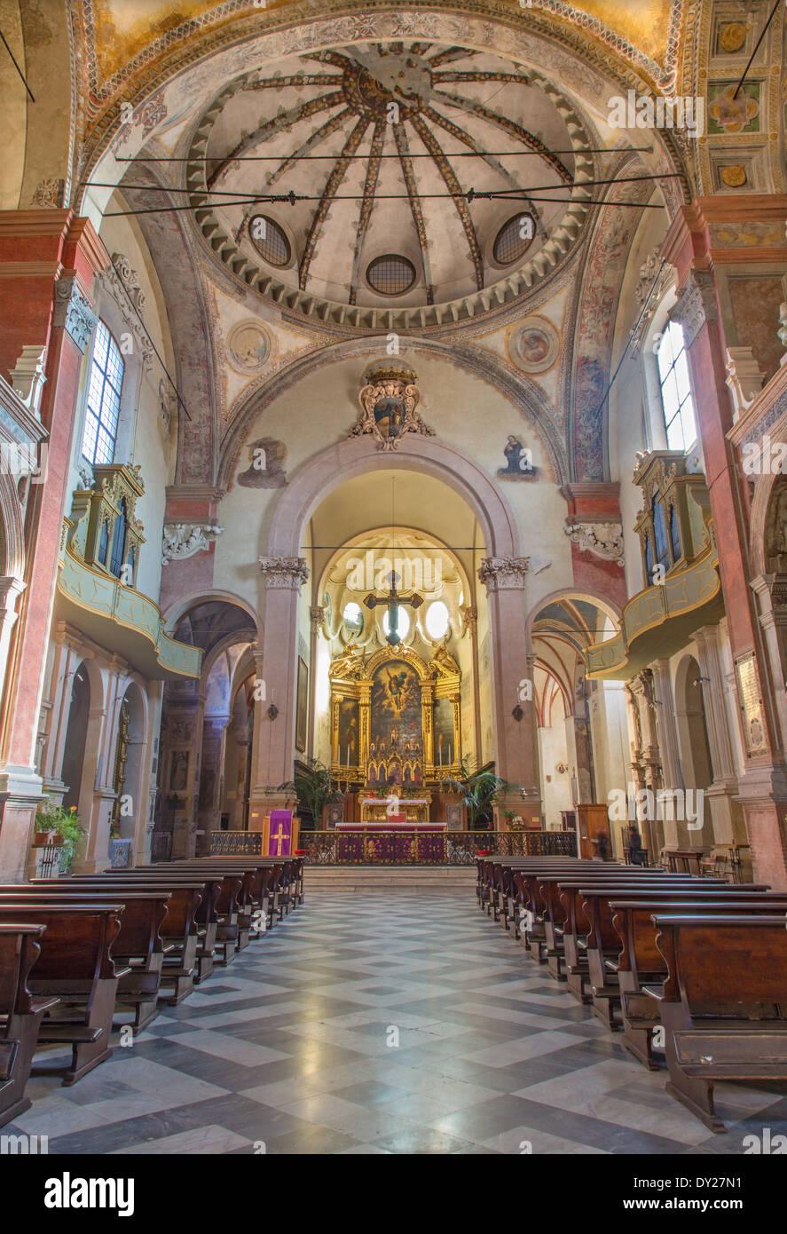 BOLOGNA, ITALY - MARCH 17, 2014: Main nave of San Giacomo Maggiore. Stock Photo