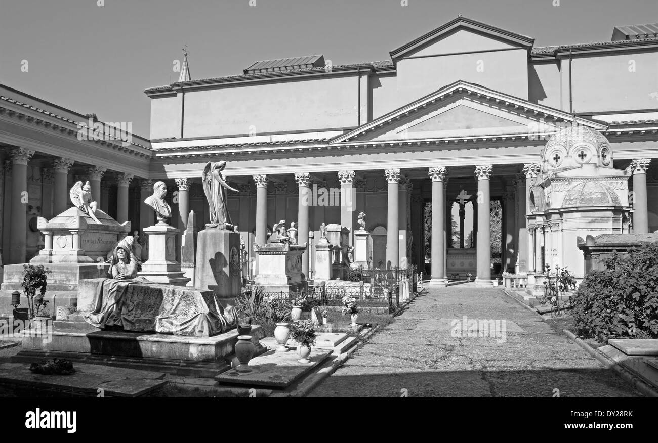BOLOGNA, ITALY - MARCH 17, 2014: Old cemetery (certosa) by St. Girolamo church. Stock Photo