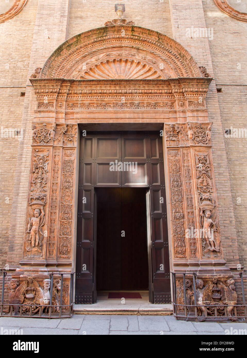 BOLOGNA, ITALY - MARCH 17, 2014: Renaissance portal of church Chiesa Corpus Christi. - Stock Image