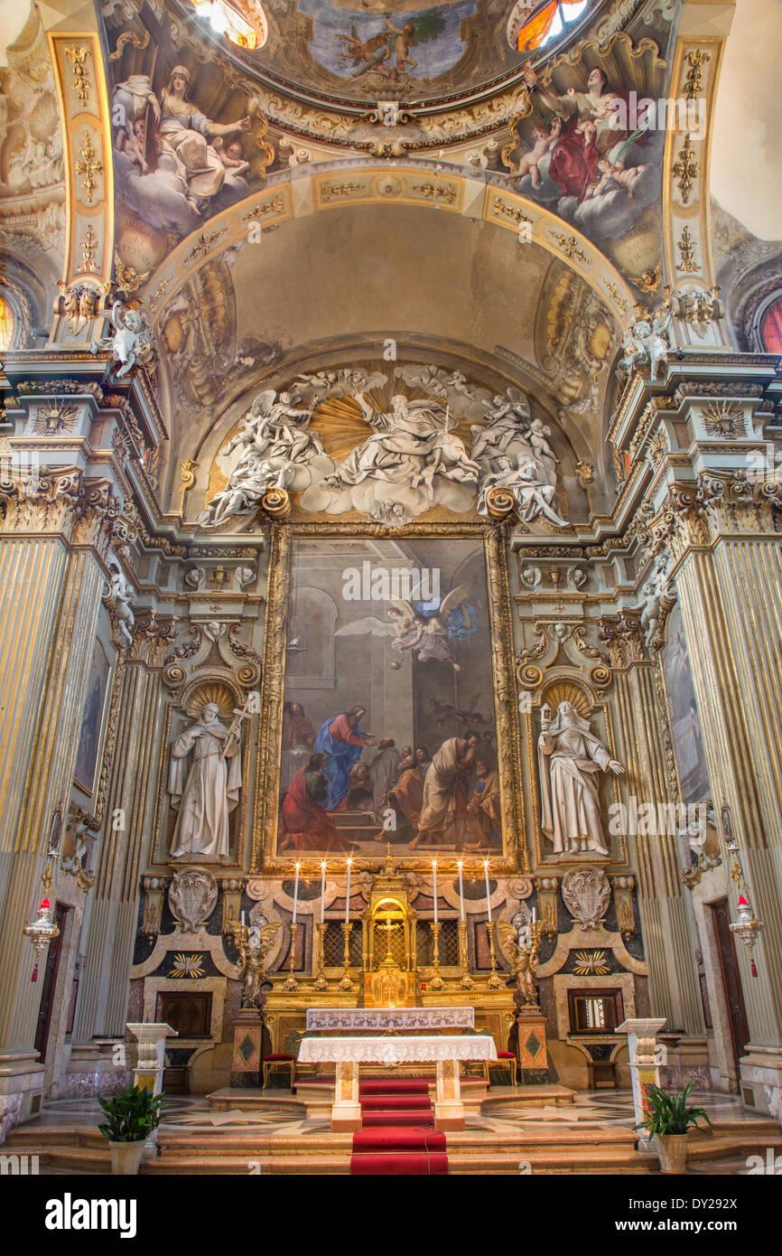 BOLOGNA, ITALY - MARCH 17, 2014: Presbytery and main altar of baroque church Chiesa Corpus Christi. Stock Photo
