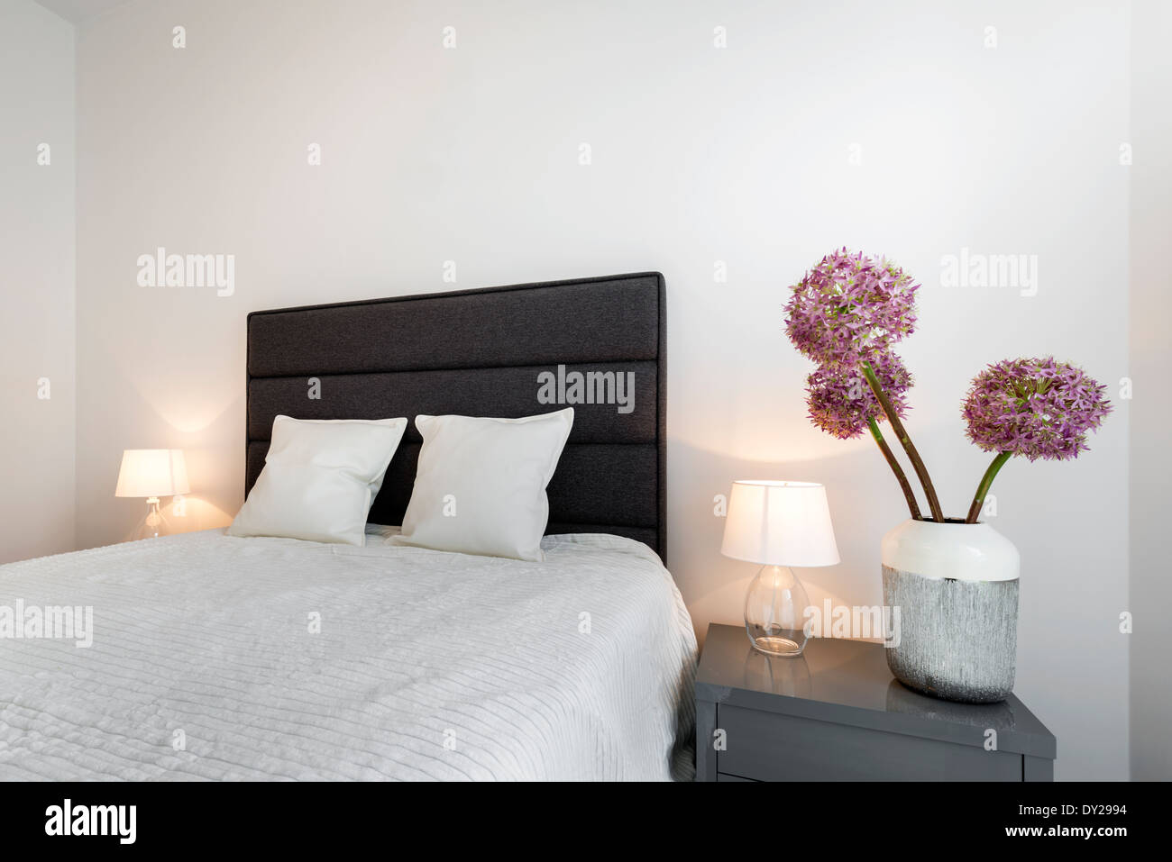 Middle size bed in small bedroom Stock Photo: 68278032 - Alamy