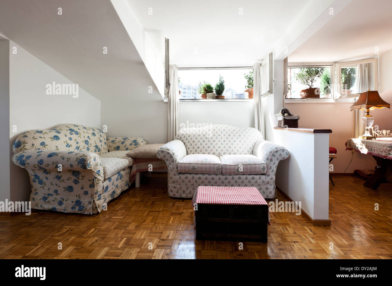 interior apartment, small loft furnished, living room Stock ...