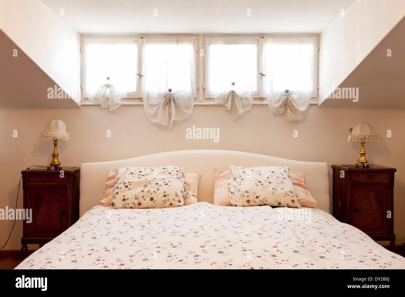 interior apartment, small loft furnished, bedroom Stock ...