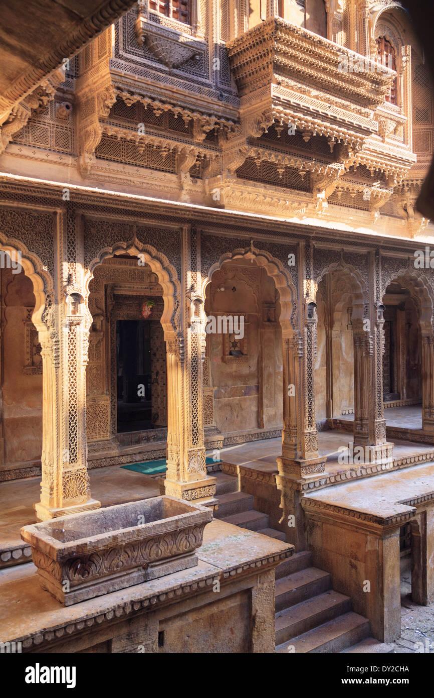 India, Rajasthan, Jaisalmer, Old Town, Patwa Ki Haveli (Traditional Ornately decorated residence) Stock Photo