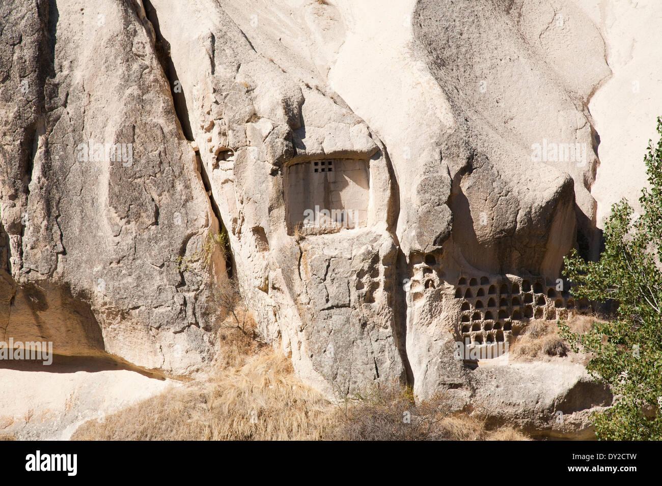 pigeon houses, pigeon valley, landscape, cappadocia, anatolia, turkey, asia - Stock Image