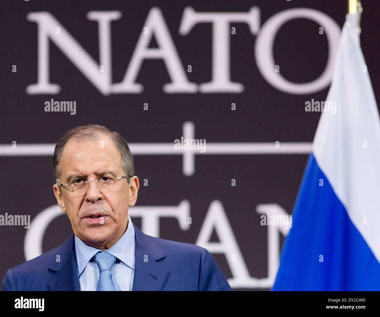 Brussels, Sergey Viktorovich Lavrov attending the Meetings of NATO Ministers of Foreign Affairs on 2013/04/23 - Stock Image