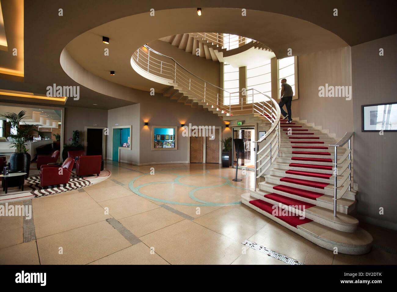 UK, England, Lancashire, Morecambe, Midland Hotel, Art Deco Circular  Stairwell In Entrance