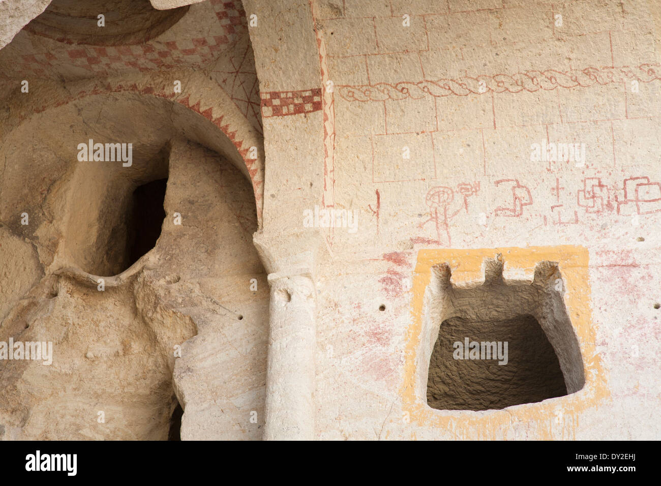the dark church, open-air museum of goreme, cappadocia, anatolia, turkey, asia - Stock Image