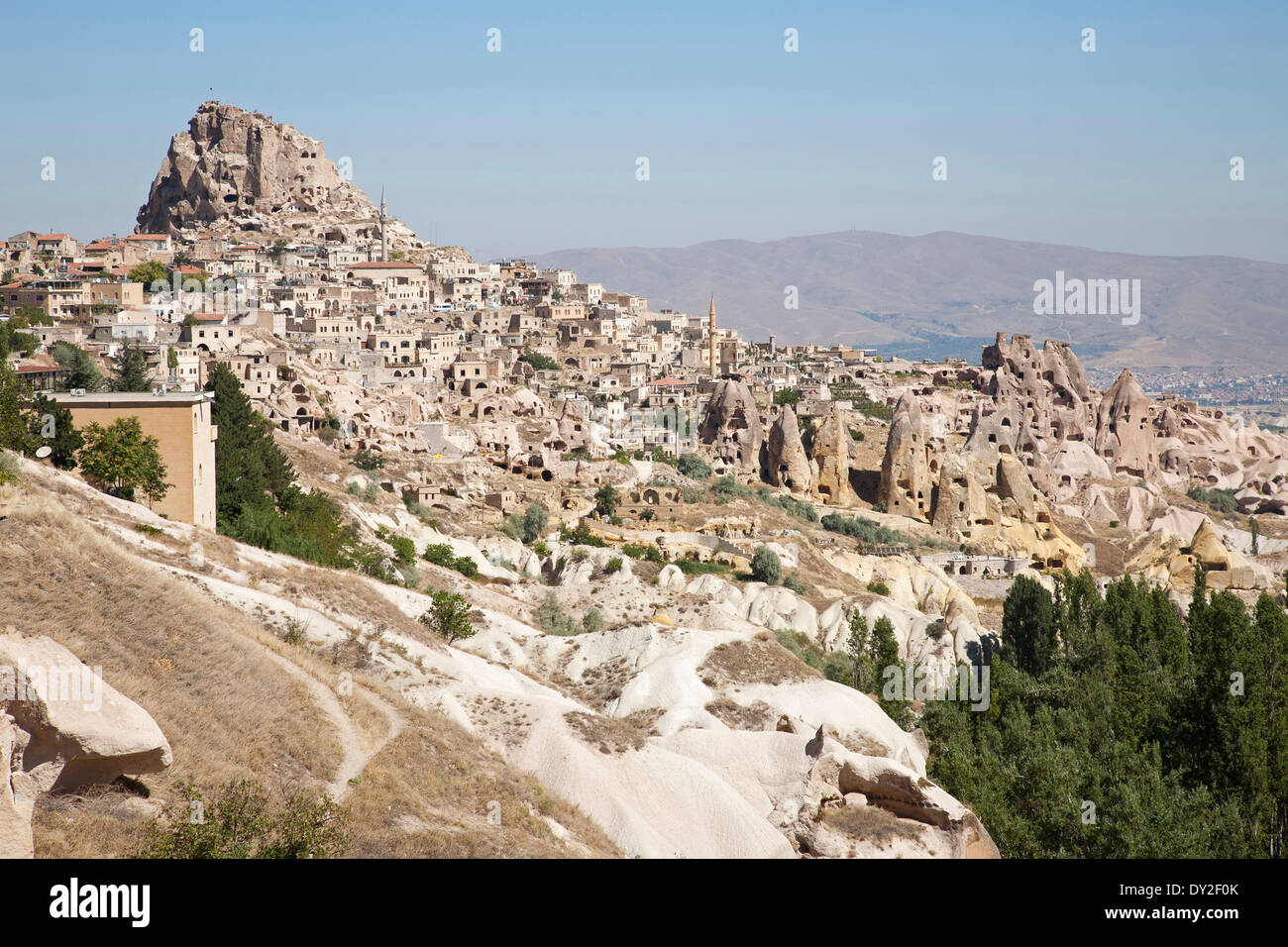 landscape and uchisar village, cappadocia, anatolia, turkey, asia - Stock Image