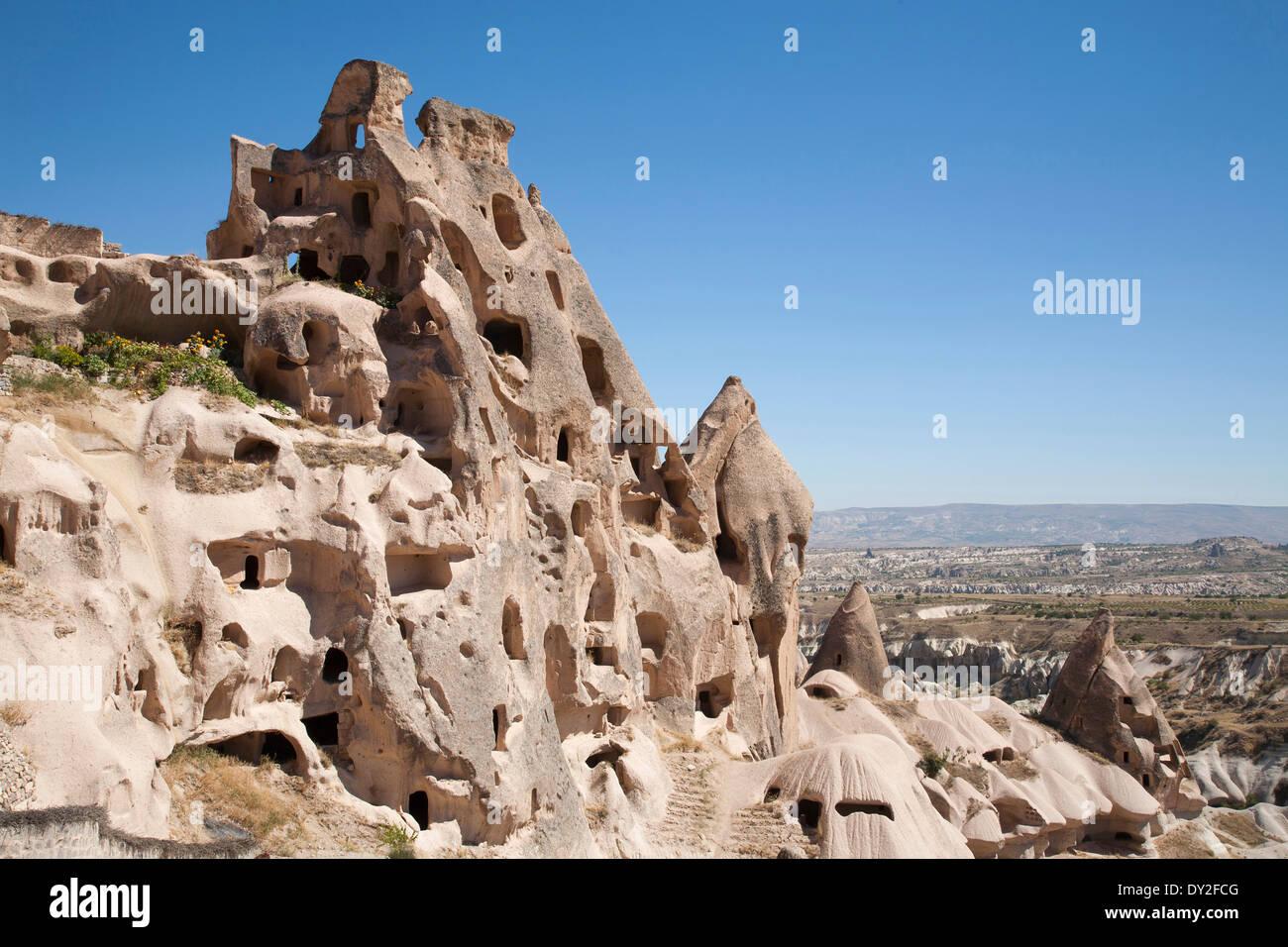 rock houses, uchisar, cappadocia, anatolia, turkey, asia - Stock Image