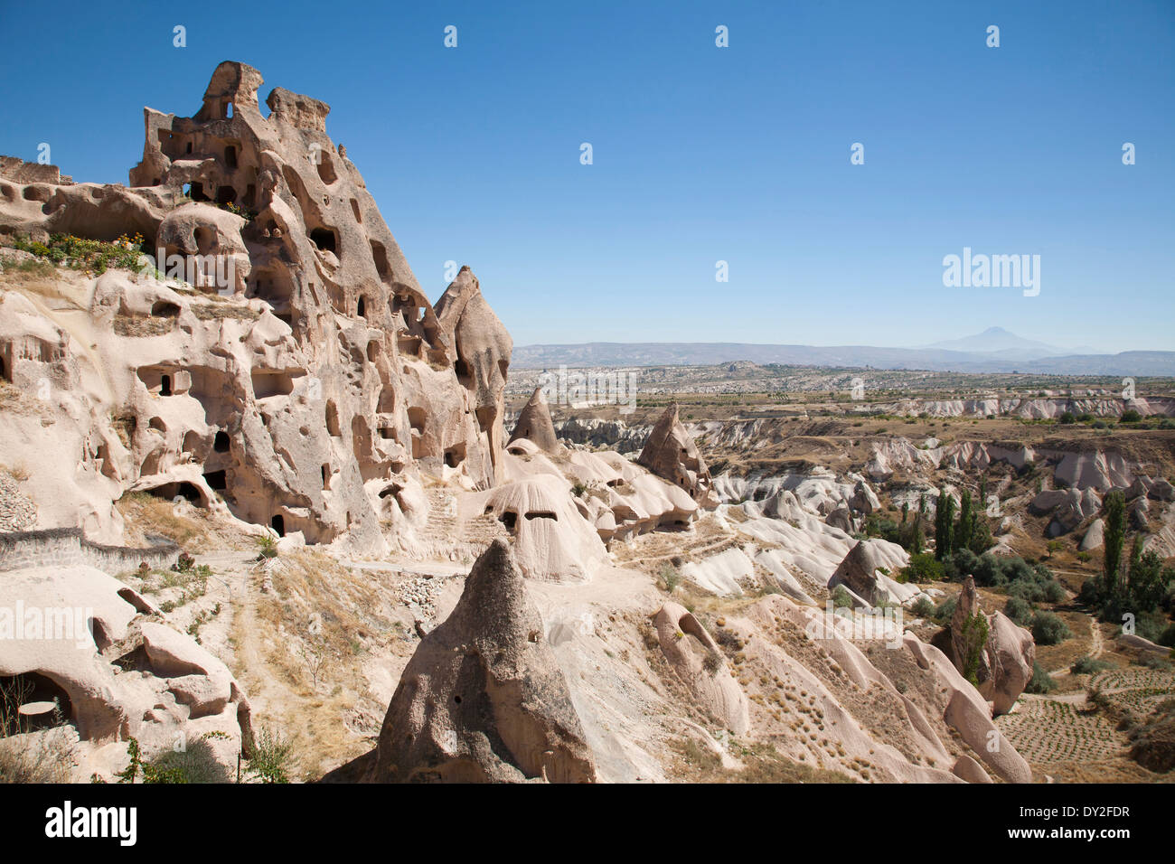 rock houses, uchisar, cappadocia, anatolia, turkey, asia Stock Photo