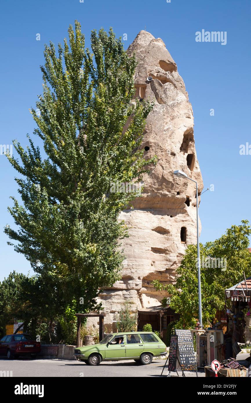 rock house called roman castle, goreme, cappadocia, anatolia, turkey, asia - Stock Image