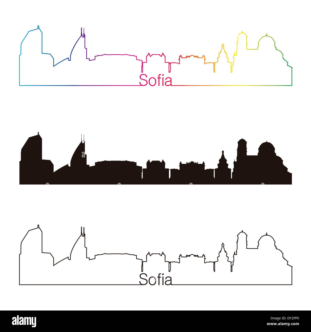 Sofia skyline linear style with rainbow Stock Photo