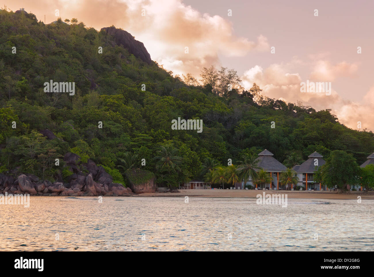 A Seychelles resort. - Stock Image