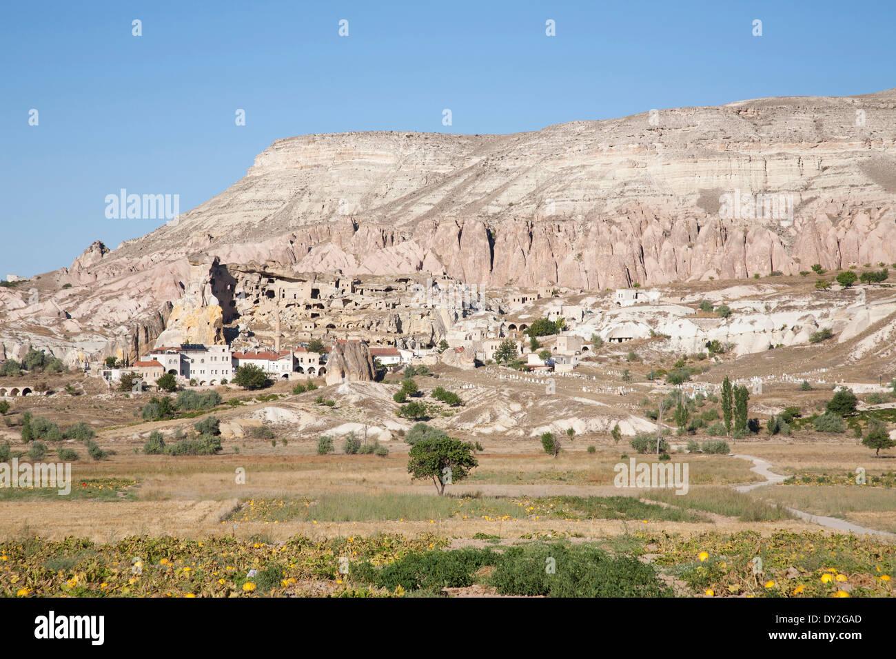 rock houses, cavusin village, cappadocia, anatolia, turkey, asia - Stock Image