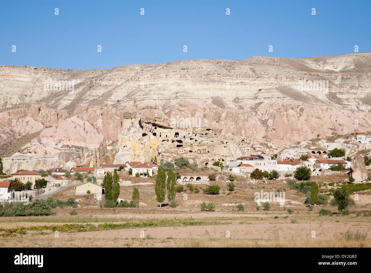 rock houses, cavusin village, cappadocia, anatolia, turkey, asia Stock Photo