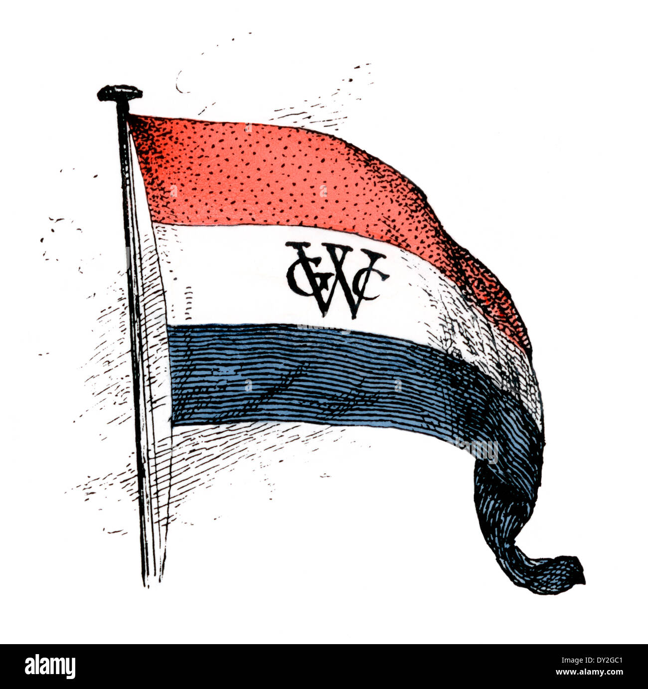 Flag of the Dutch West India Company. Digitally colored woodcut - Stock Image